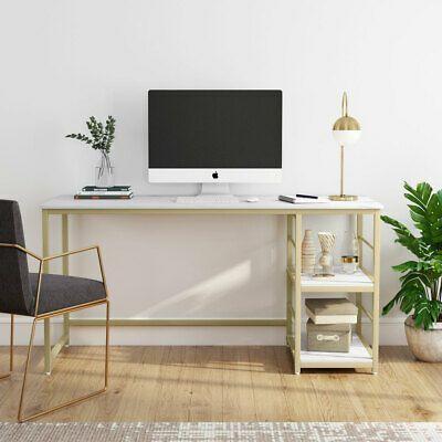 Multi Functional 2 Tier Shelves Computer Desk Faux Marble White Gold Study Table Affilink Artdesks Astde In 2020 Modern Home Office Desk Study Table Work Desk Decor