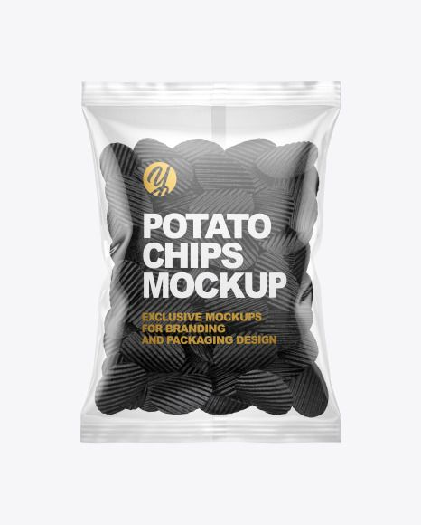 Download Bag With Corrugated Black Potato Chips Mockup In Bag Sack Mockups On Yellow Images Object Mockups Chip Packaging Food Packaging Design Potato Chips