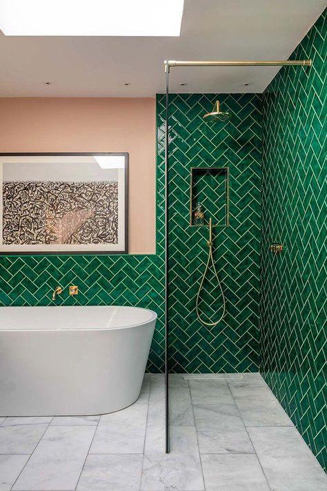Love This Shower Tub Combo Interiordesign Bathroomideas - Green-bathroom-tile