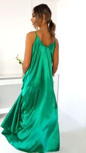 Tiffany Satin Maxi Slip Dress in Green -  Source by hottgenroth9485  -