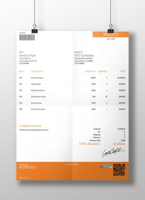 New invoice template from invoiceape Free Professional - new invoice