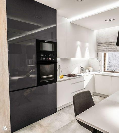 Projekt Mieszkania W Warszawie 80 M2 Srednia Otwarta Kuchnia W Ksztalcie Litery L W Aneksie Z Oknem Styl Nowoczesny Zdjec Home Kitchens Home Decor Kitchen
