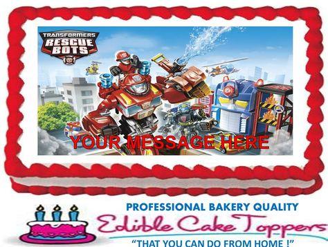 TRANSFORMERS Rescue Bots Custom Edible Cake Topper Edible Image. $6.50, via Etsy.