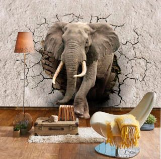 3d Elephant Shattered Wall Sticker Wall Fabric Peel And Stick Etsy 3d Wall Murals Wall Stickers Elephant