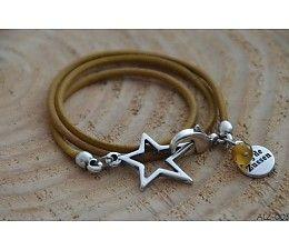 Bij de ZUSSEN Armband leer okergeel met ster