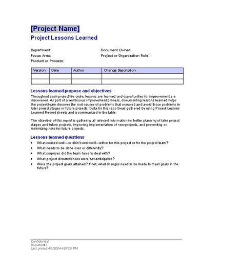 Project lessons learned - Templates - Office Free MS Word - overtime request form