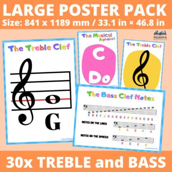30x Large Poster Pack The Treble And Bass Clef And Extra Bonus