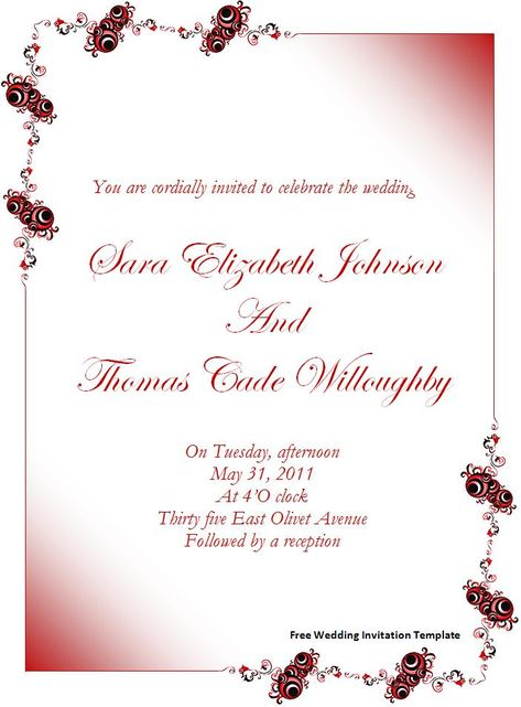 Wedding Invitation Templates Free Wedding Invitation Template - free invitation card templates for word