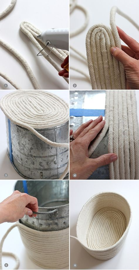 DIY un panier en corde. No-Sew Rope Basket / alice & loisDIY No-Sew Rope Basket / alice & lois. I love the look of this but would sew it after gluing it.DIY No-Sew Rope Basket / alice & lois by Nancy Oberlin Could paint it to match furniture tooDIY y Rope Basket, Basket Weaving, Basket Bag, Rope Crafts, Diy And Crafts, Creation Deco, Diy Home Decor On A Budget, Diy Projects To Try, Sewing Projects