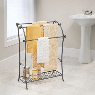 Mdesign Large Metal Bathroom Towel Rack Holder Storage Shelf 3 Tiers Gray Towel Rack Free Standing Towel Rack Towel Rack Bathroom