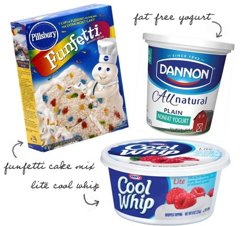 Funfetti Cake Dip- 1 box funfetti cake mix, 2 cups plain yogurt, & 1 cup cool whip. Serve with animal crackers or graham crackers (use Greek yogurt for a thicker dip with more protein)     Recipe for one- 3tbsp cake mix, 2tbsp plain yogurt, & 1 tbsp cool whip