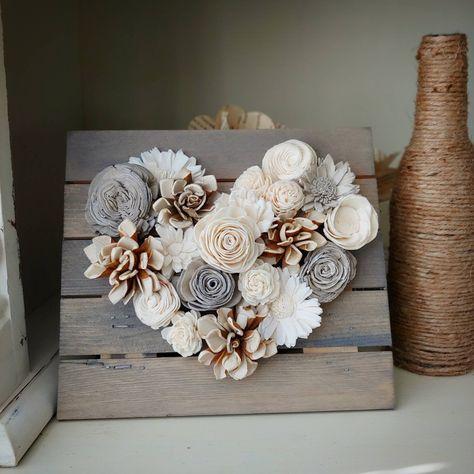 Neutral Wood Flower Mini Heart Board Sola Wood Flowers | Etsy