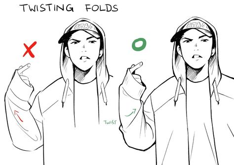 """""""I recently had to look up my own art tips to remember these twisting folds 😂"""" Drawing Body Poses, Drawing Reference Poses, Drawing Practice, Drawing Techniques, Drawing Tips, Drawing Stuff, Poses References, Digital Art Tutorial, Art Poses"""
