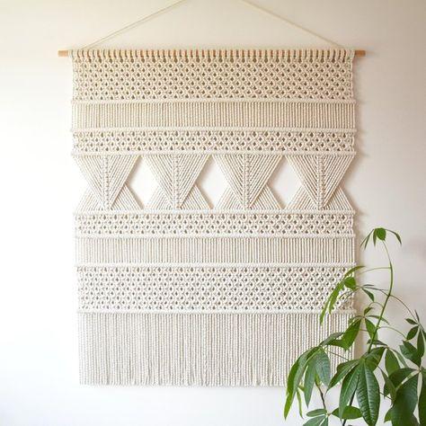 macrame wall hanging XL geometric tapestry wall fiber art   Etsy