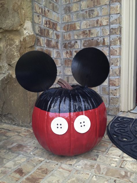 """MICKEY MOUSE pumpkin for Halloween. My first attempt at """"crafty"""" project. Pumpkin, paint, ears buttons...voila'!"""