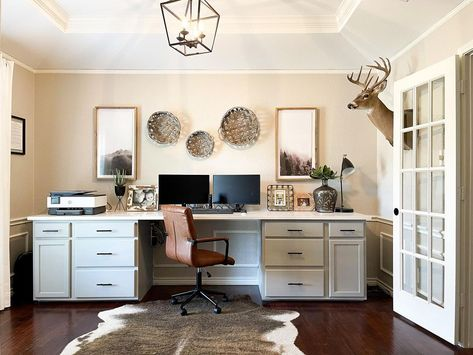 """Meagan Bailey Design on Instagram: """"Dining Room turned —> Home Office We created this desk using @homedepot cabinets and added a quartz top! Walls: SW Worldly Gray Cabinets:…"""""""