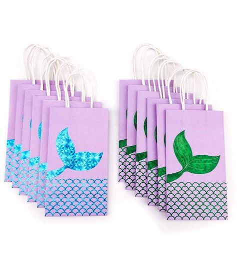 Excited to share this item from my #etsy shop: Blue & Green Glitter Mermaid Tail Under The Sea Party Favor Gift Bags, Little mermaid Ariel birthday treat Bags with Handles [Pack of 12]