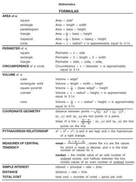 Formula Sheet For Math College Math Ged Math Studying Math