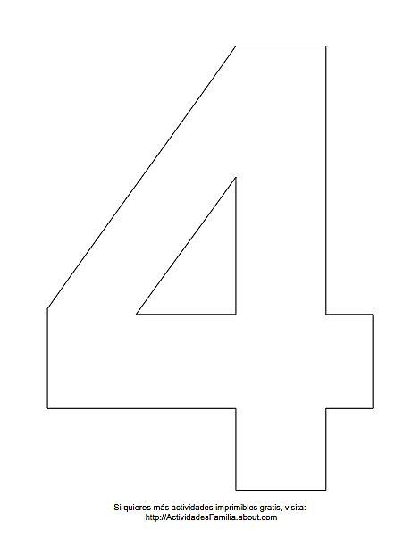 Dibujos de números para colorear: Número 4 para colorear