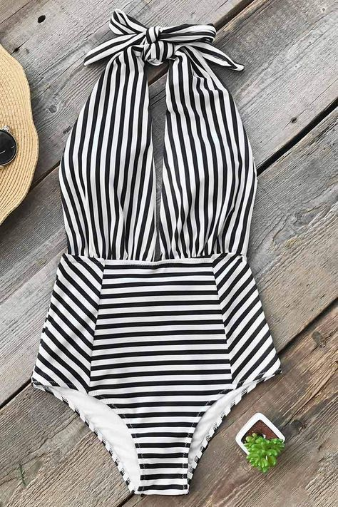 91e0a6e2ef0 Women's Swimwear and clothing at affordable prices. Cupshe Farewell  Cambridge Stripe One-piece Swimsuit