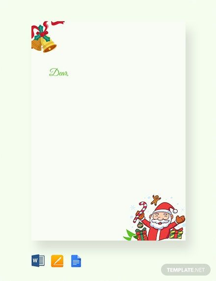 Free Christmas Letter Template Word Doc Apple Mac Pages Google Docs Christmas Letter Template Christmas Note Cards Note Card Template