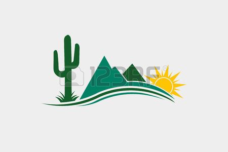 Sunny Desert Scene With Cactus And Stone Vector Illustration Vector Illustration Illustration Branding Inspiration