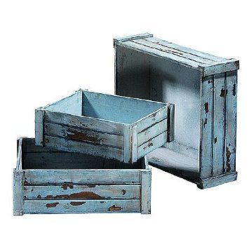 Deko-Woerner Holzkisten antik 3tlg.hellblau: Amazon.de: Küche & Haushalt