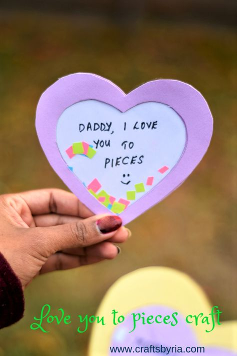 Beautiful love you to pieces craft idea for Father's day to make with your preschooler, kindergarten