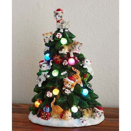 The Lakeside Collection Lighted Tabletop Tree Cat Walmart Com Tabletop Christmas Tree Cat Christmas Tree Pet Holiday