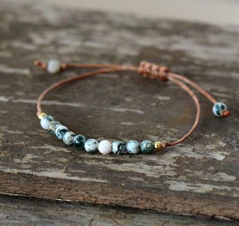 Handmade Natural Tree Agate Stone Adjustable Bracelet