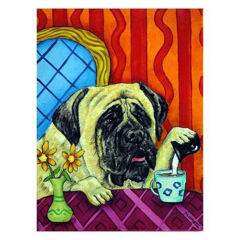 mastiff at the coffee shop cafe dog art tile coaster