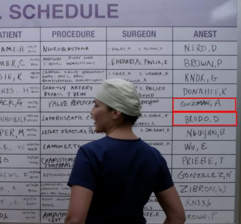 """The OR schedule will sometimes feature the names of crew members, like this board in Season 13. 21 Details From """"Grey's Anatomy"""" That'll Make You Say, """"How Did I Not Notice That?"""""""