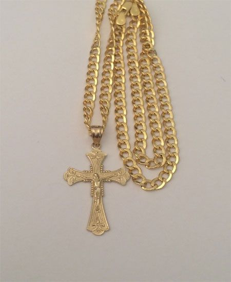 10k Yellow Gold Jesus Crucifix Cross Pendant Charm Cuban Link Chain 20 Inch By Rg D Gold Chains For Men Gold Chain With Pendant Chains For Men