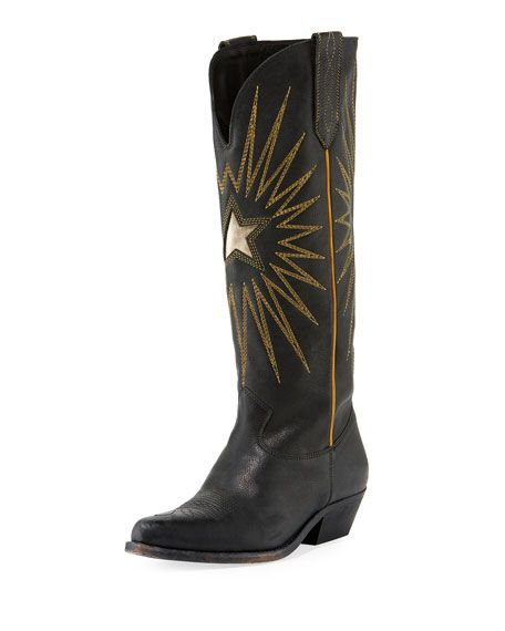 0bce3965cda Golden Goose Wish Star Leather Cowboy Knee Boot | Shoegasm | Boots ...