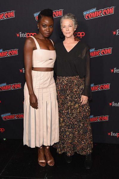 Danai Gurira (L) and Melissa McBride attend the NYCC panel and fan screening of 'The Walking Dead' episode 901.