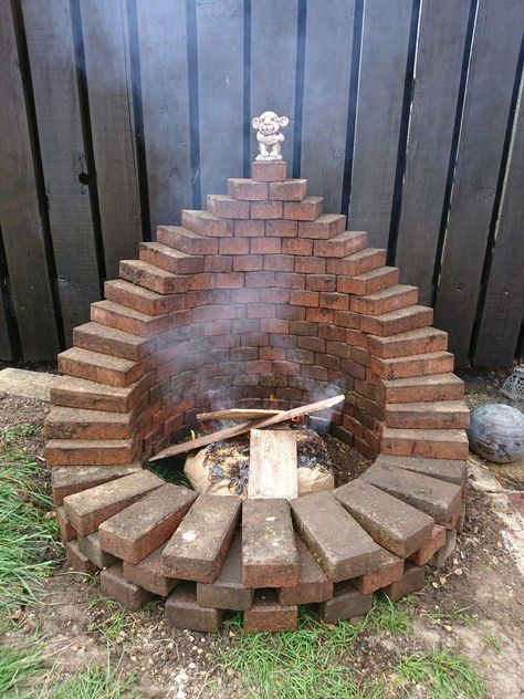 """I made a fire pit from the garden paver path #""""outdoorfirepit"""""""