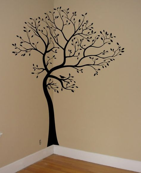Tree wall stencils decals on pinterest 30 pins for Big tree with bird wall decal deco art sticker mural