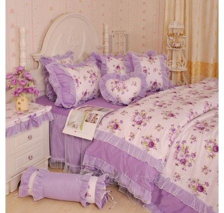 Purple Lace Bowtie Ruffle Floral Bedding For Girls Lace Bedding