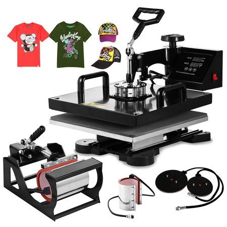 Bestequip 6 In 1 Heat Press Machine Swing Away Digital Sublimation Heat Pressing Transfer Machine For T Shirt Mug Hat Plate Cap 15 X 15 Walmart Com