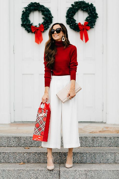 Red turtleneck sweater white culottes nude heels and black cat eye sunglasses. holiday outfit holiday look christmas outfit new years eve outfit fashion 2018 party outfit holidaystyle partystyle holidayoutfit