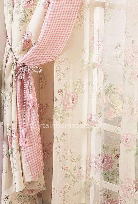 with ribbons Curtain Shabby Chic Home sweet home