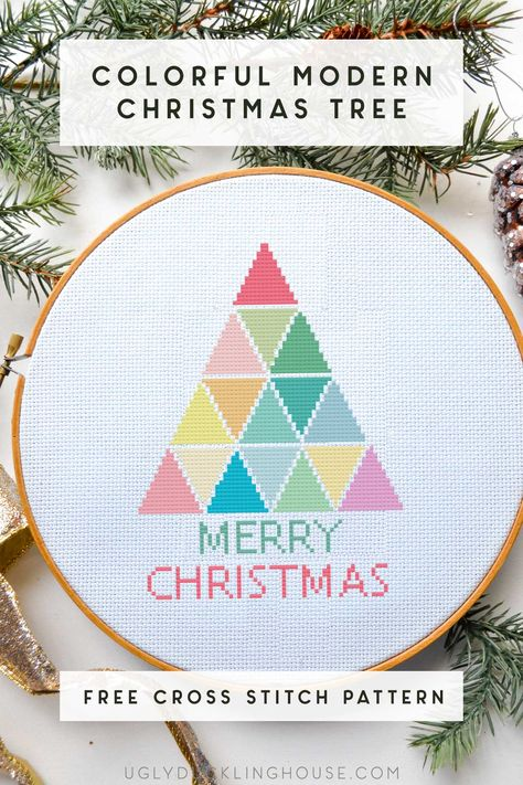 This modern and COLORFUL Christmas cross stitch pattern uses rainbow hues to really brighten up the holidays! Can be customized to your favorite colors because the pattern is simple and easy to follow! Join my FREE cross stitch library to get patterns every month. #crossstitch #embroidery #colorfulchristmas #rainbow #christmaspattern