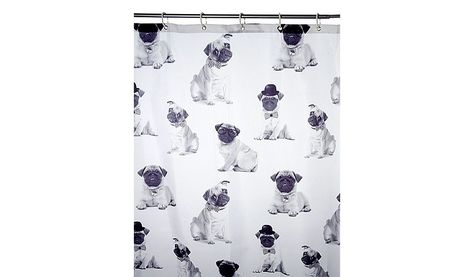 George Home Pugs Shower Curtain Shower Curtains Rails George