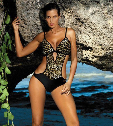 Maillot De Bain Trikini Monokini Femme Sexy Push Up Noir Léopard
