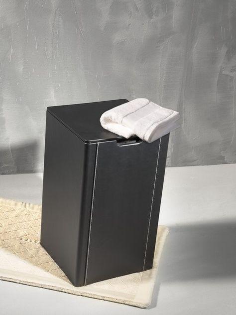 Loft Bath Noir Accessoires Cuir Noir Panier A Linge 35