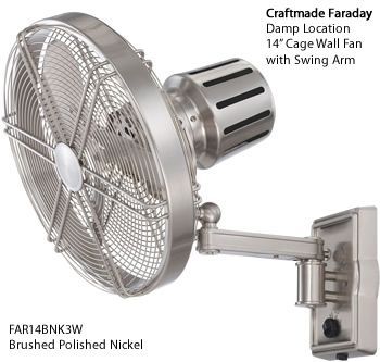 Craftmade Brushed Polished Nickel Far14bnk3w Faraday 14 Damp Location Cage Wall Fan With Adjustable Arm Wall Mo Wall Mounted Fan Wall Fans Wall Mounted Fans