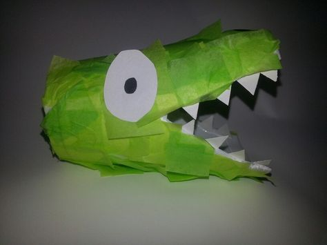 Made this with my kids today. Alligator foam cup with tissue paper. They loved them.