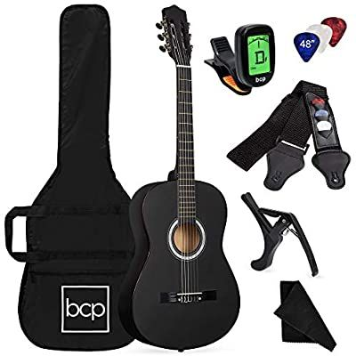 Amazon Com Best Choice Products 38in Beginner All Wood Acoustic Guitar Starter Kit W Case Strap Digital Tuner P Best Acoustic Guitar Guitar Acoustic Guitar