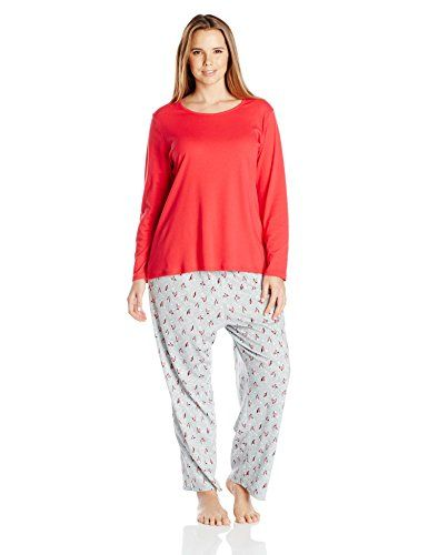 56a6e316a2 Jockey Womens PlusSize Cotton 2 Piece Pajama Set Red 1X     Read more at  the image link.