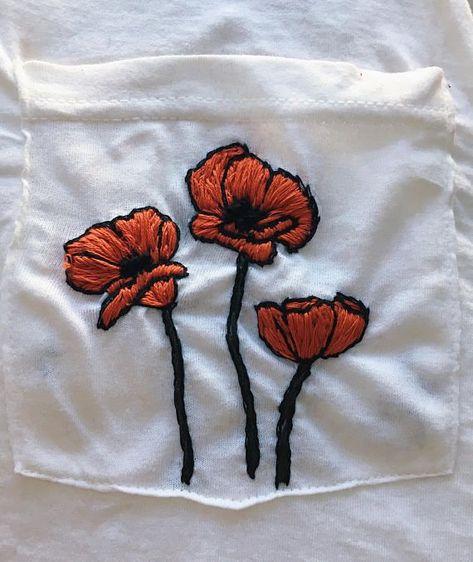 Gestickten T Shirt Der Mohnblume Blumenstickerei Mode Besticktes Hemd Besticktes Blumenstickerei Gestickten Mohnblume Shirt Stic Blumenstickerei Blumen Stickerei Und Stickerei Stoff